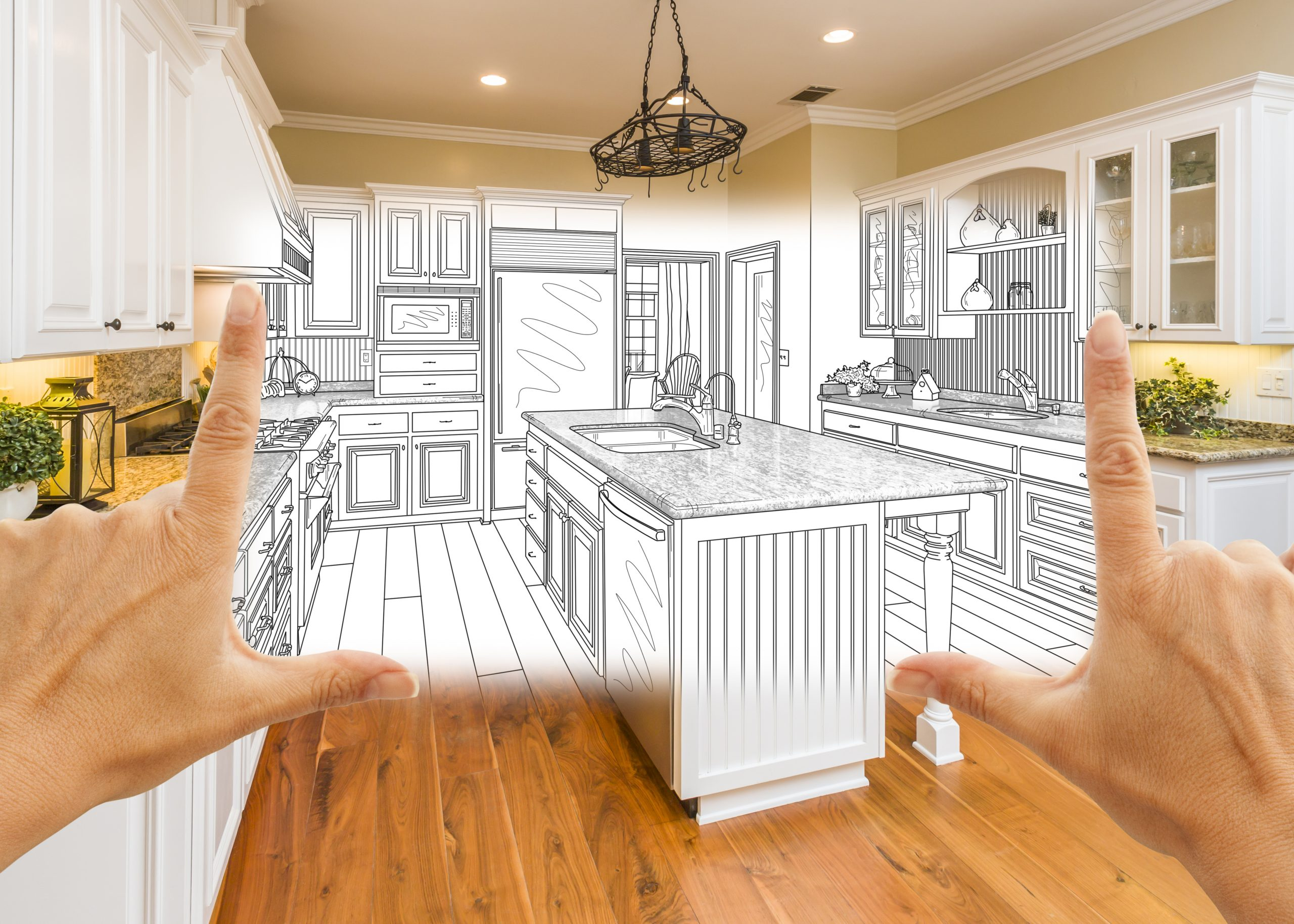 Illustration of kitchen plans. Links to the Bank of Versailles Home Equity Line of Credit page.